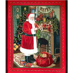 Visit From Santa Metallic Panel Red/Green