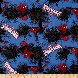 Spiderman Flannel Splatter Web Blue/Red