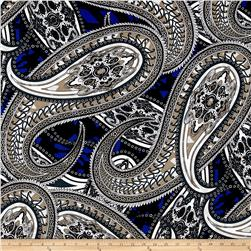 ITY Stretch Jersey Knit Large Paisley Gray/White/Royal