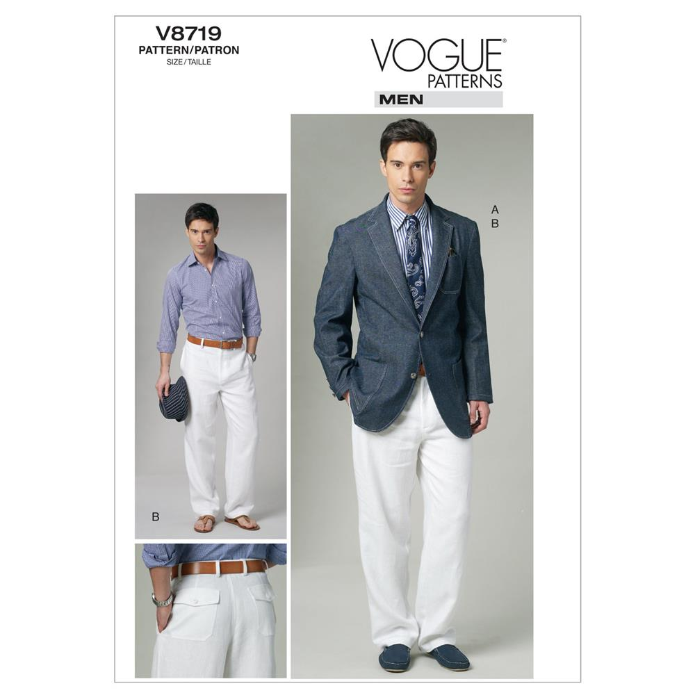 Vogue Men'S Jacket and Pants Pattern V8719 Size