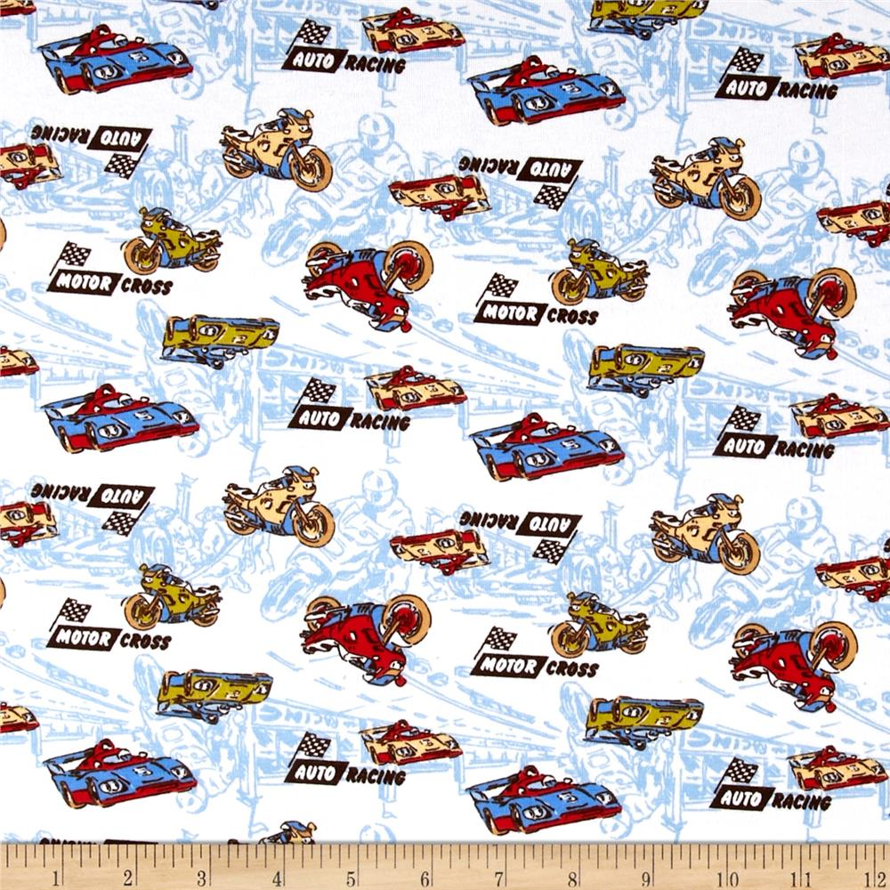 Transportation Cotton Spandex Knit Motor Cross Print