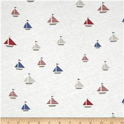 Nautical Collection Jersey Knit Sailboat Multi Grey