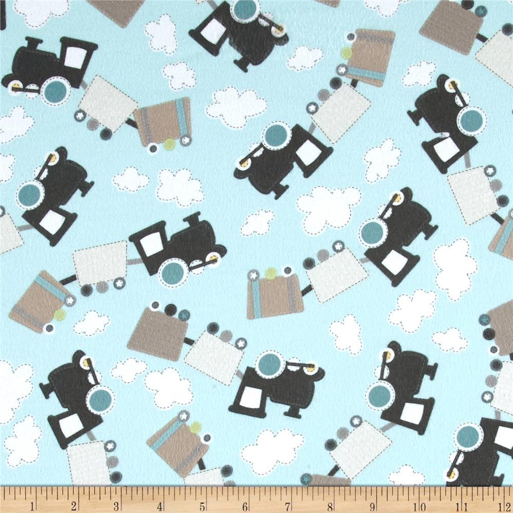Kanvas all aboard flannel all over trains aqua discount for Train print fabric