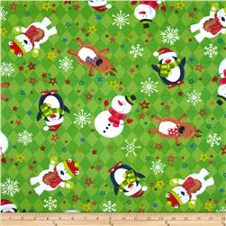 Christmas Flannel Diamond Snowman Green