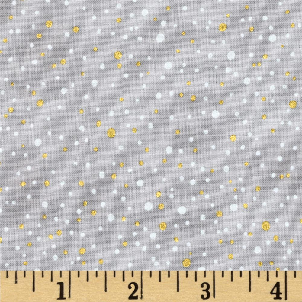 Snowy Peak Metallic Snow Dots Taupe/Gold