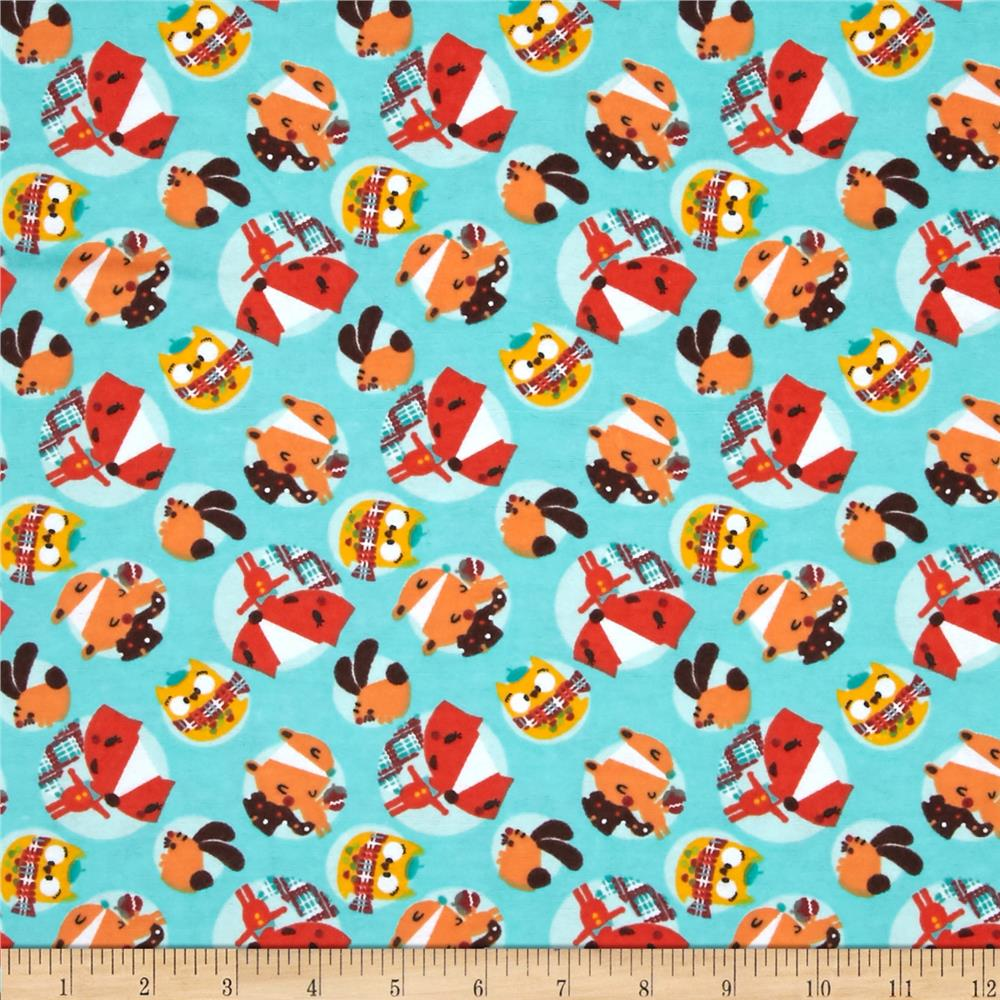 Fall Town Flannel Tossed Animals Turquoise