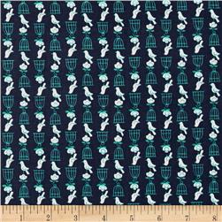 Cotton + Steel Rotary Club Birds And Cages Navy