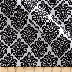 Charmeuse Satin Classic Damask Snow/Black Fabric