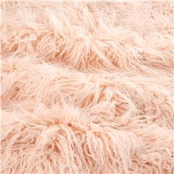 Luxury Faux Fur Curly Yak Pearl Pink