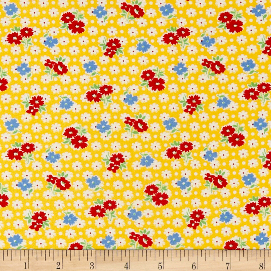 1930s Vintage Dresses, Clothing & Patterns Links Hollys Dollies Tossed Flowers Yellow Fabric $9.48 AT vintagedancer.com