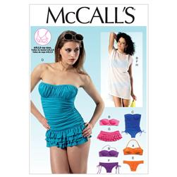 McCall's Misses' Tops, Swimsuits, Bikinis and Cover-Up Pattern M6569 Size AX5
