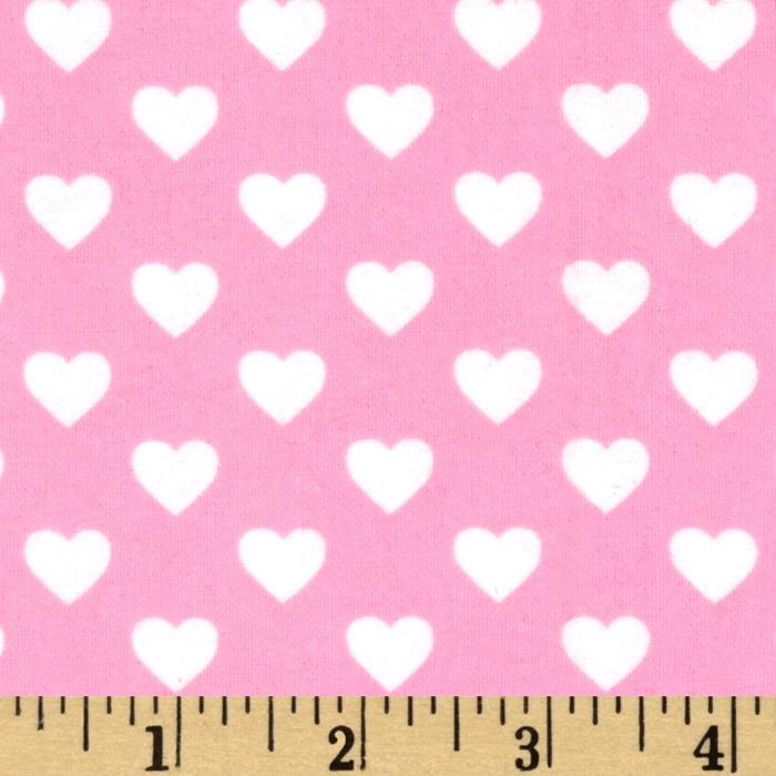 Michael Miller Flannels It's A Girl Thing Hearts All Over Pink