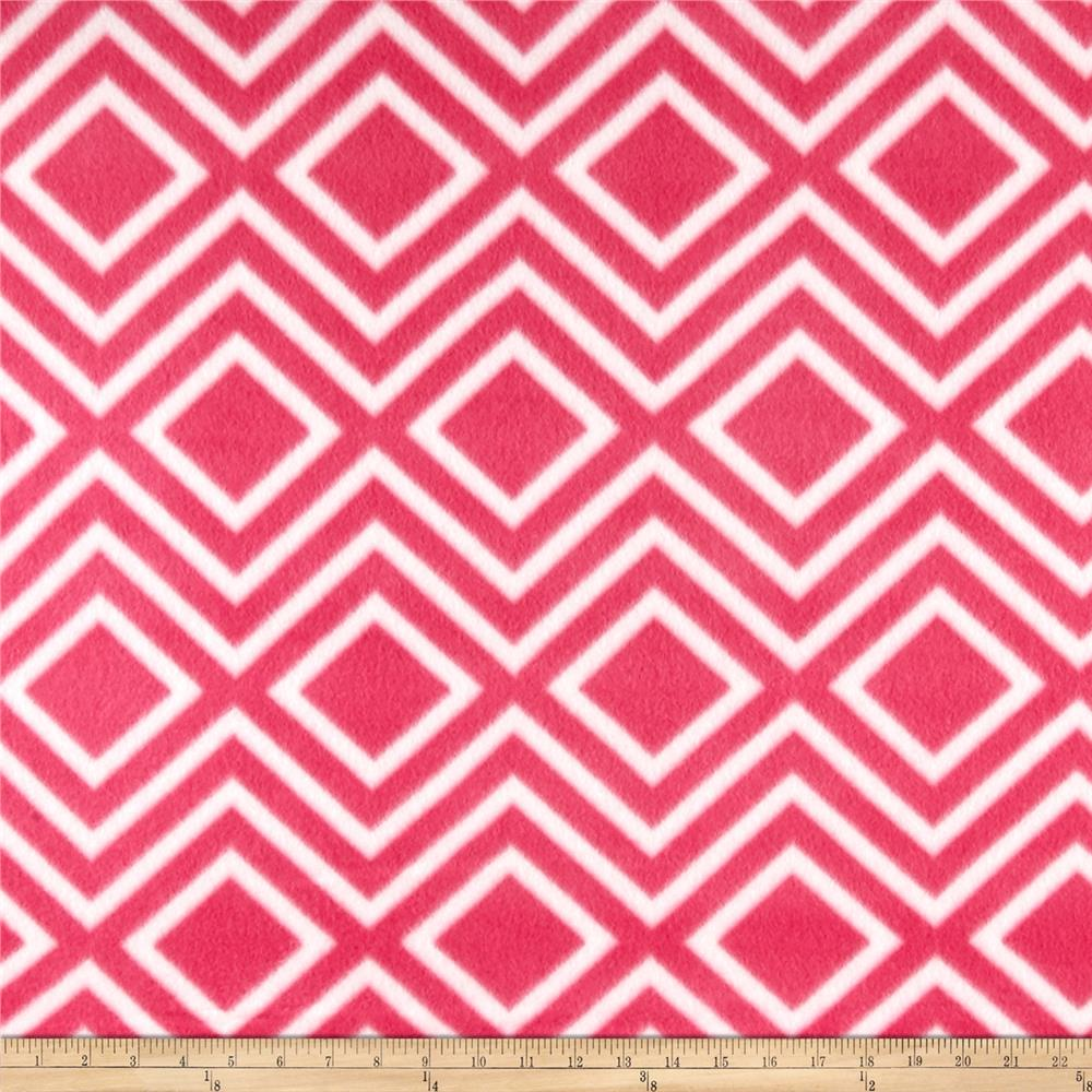 Polar Fleece Print Diamond Tile Pink Fabric