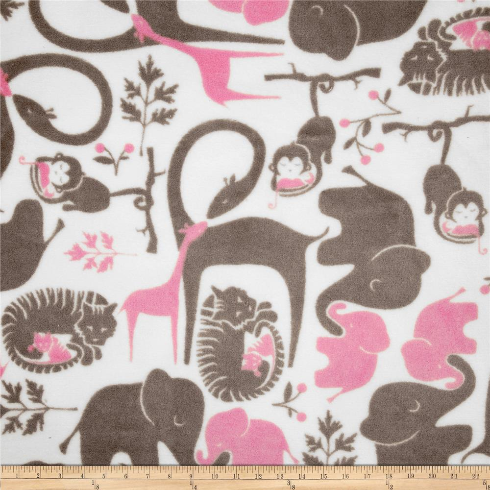 Fleece Zoo Animals Grey/Pink Fabric By The Yard