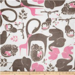 Fleece Zoo Animals Grey/Pink Fabric