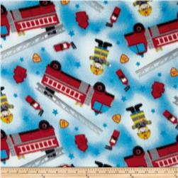 Printed Fleece Fire Trucks Blue/Multi