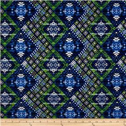 Stretch ITY Jersey Knit Diamond Ethnic Blue/Green
