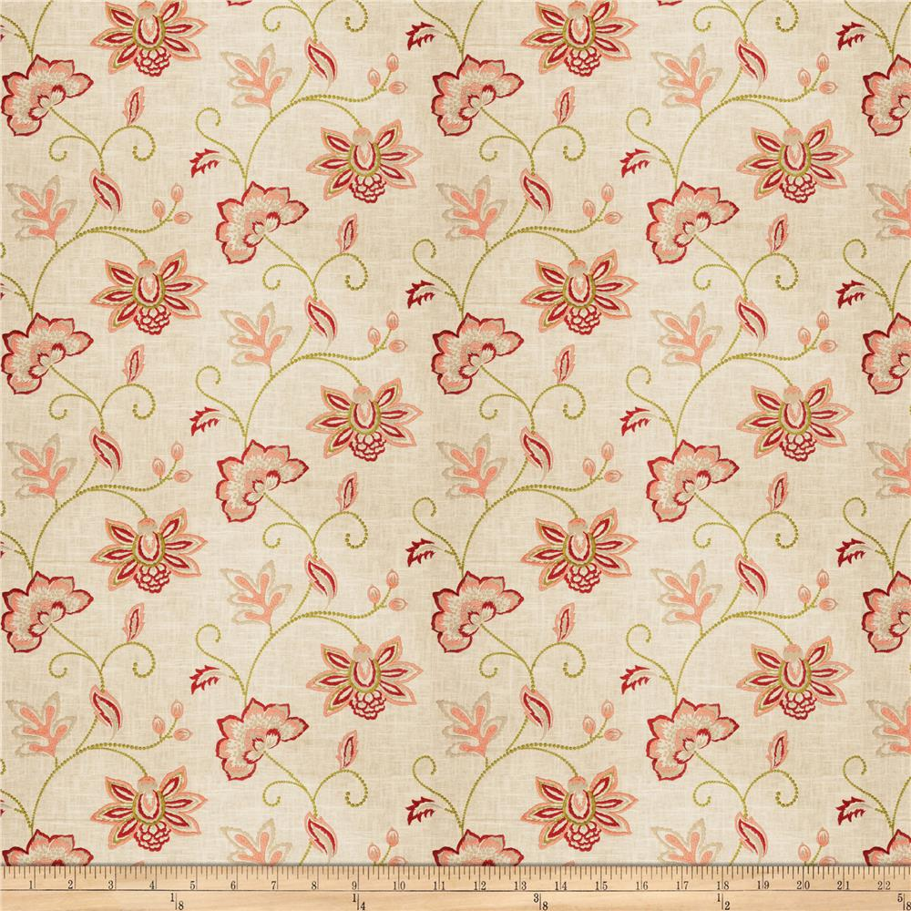 Charlotte Moss Ripoli Embroidered Linen Coral