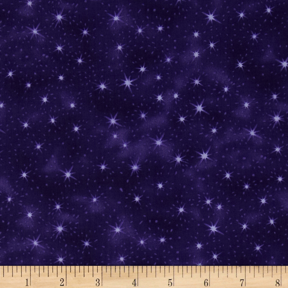 Nite Owls Stars Purple Fabric