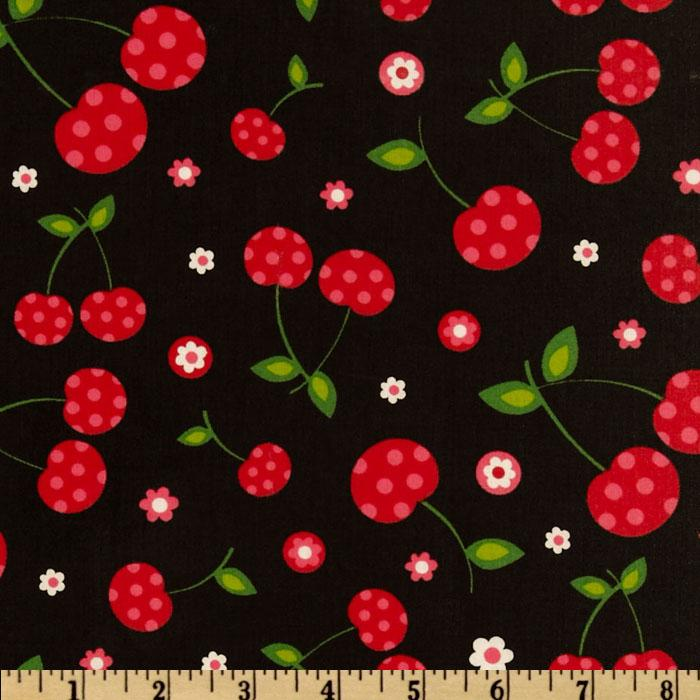 Picnic Party Slicker Laminated Cotton Cherries Black