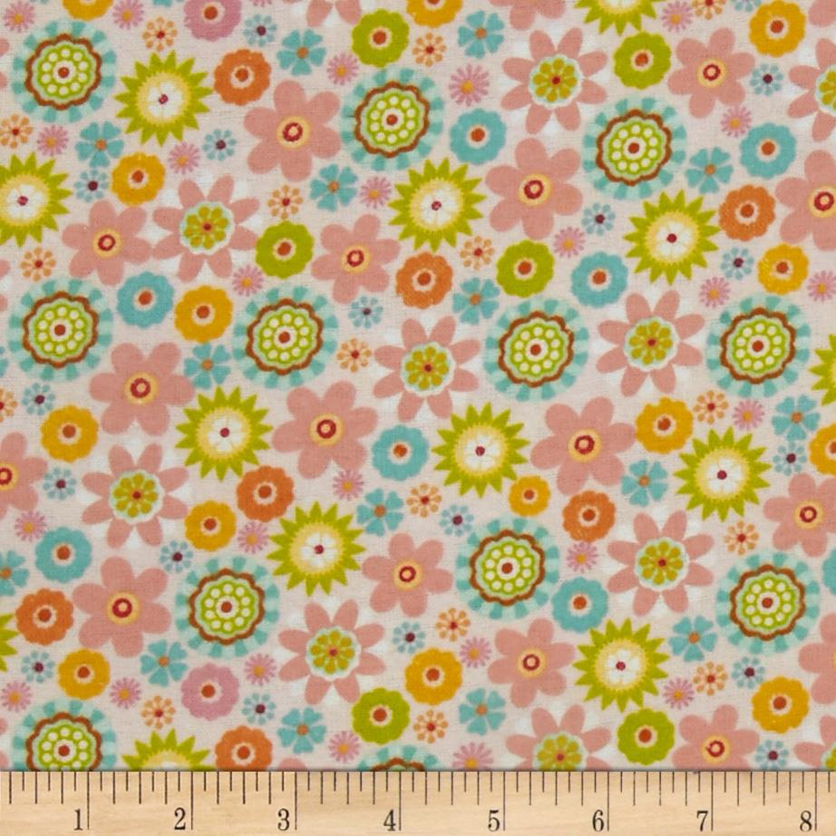 Comfy Flannel Bursting Tossed Flowers Pink