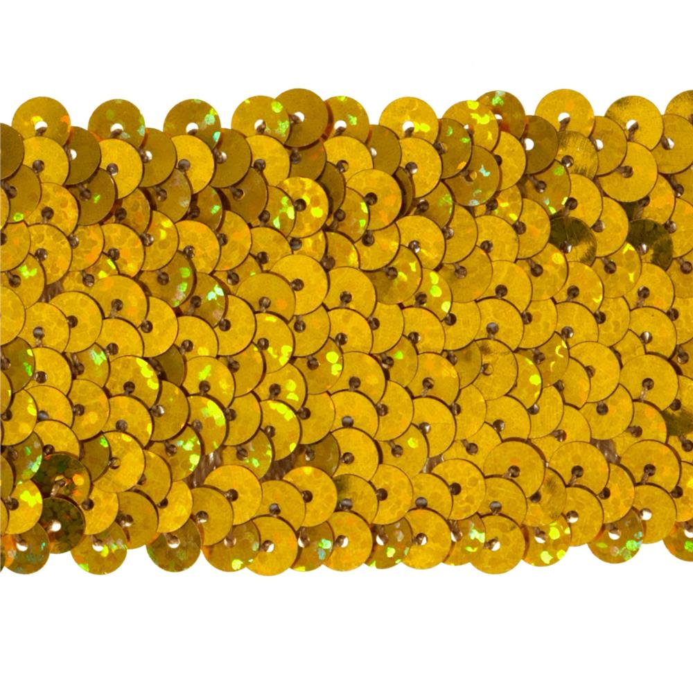 "1 3/4"" Hologram Stretch Sequin Trim Gold"