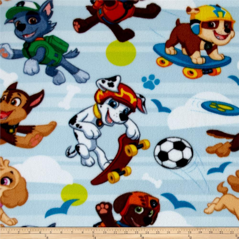 Nickelodeon Paw Patrol Fleece Pup Park Blue/Multi Fabric By The Yard