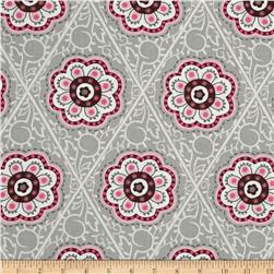 Floral Medallions Retro Flower Medallion Grey/Pink/Cream