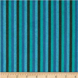 Peppered Cotton Small Stripe Aquarium Fabric