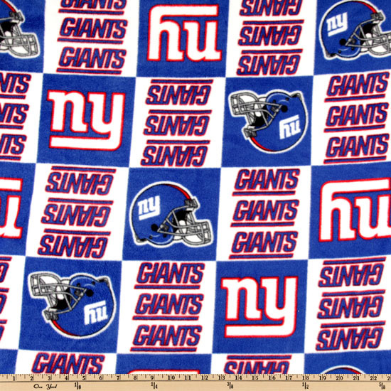NFL Fleece New York Giants Squares Blue/White Fabric