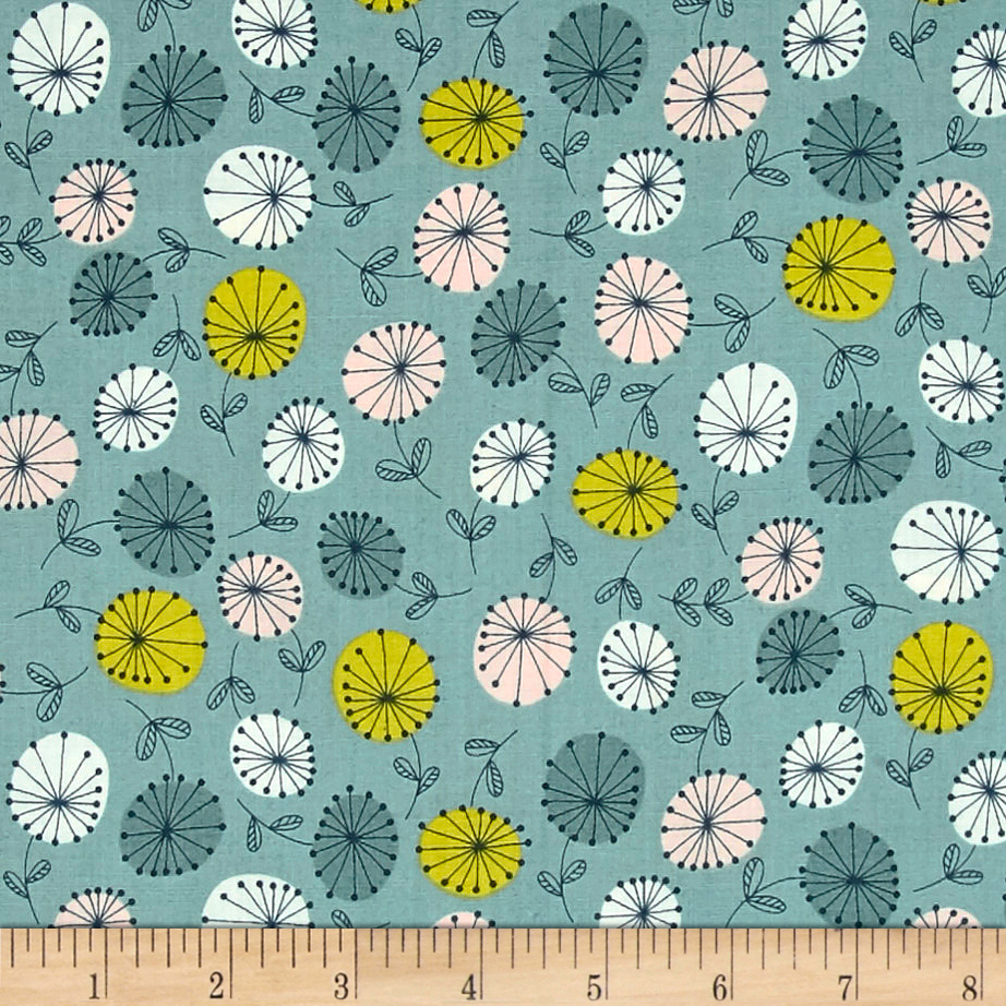 INOpets.com Anything for Pets Parents & Their Pets Modern Retro Flowers Blue Fabric