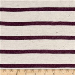 Jersey Knit Purple Stripes on White