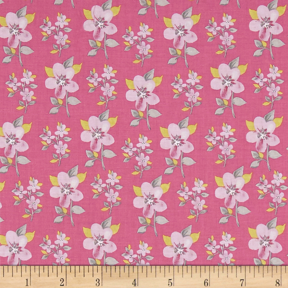 Flutter Tossed Flower Light Raspberry Fabric by Clothworks in USA