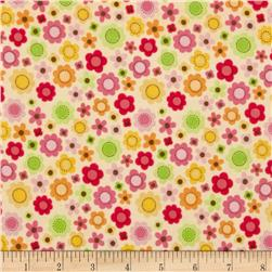 Riley Blake Ladybug Garden Flannel Tossed Flowers Yellow