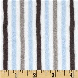 Minky Cuddle Classic Mini Stripe Baby Blue/Silver Fabric