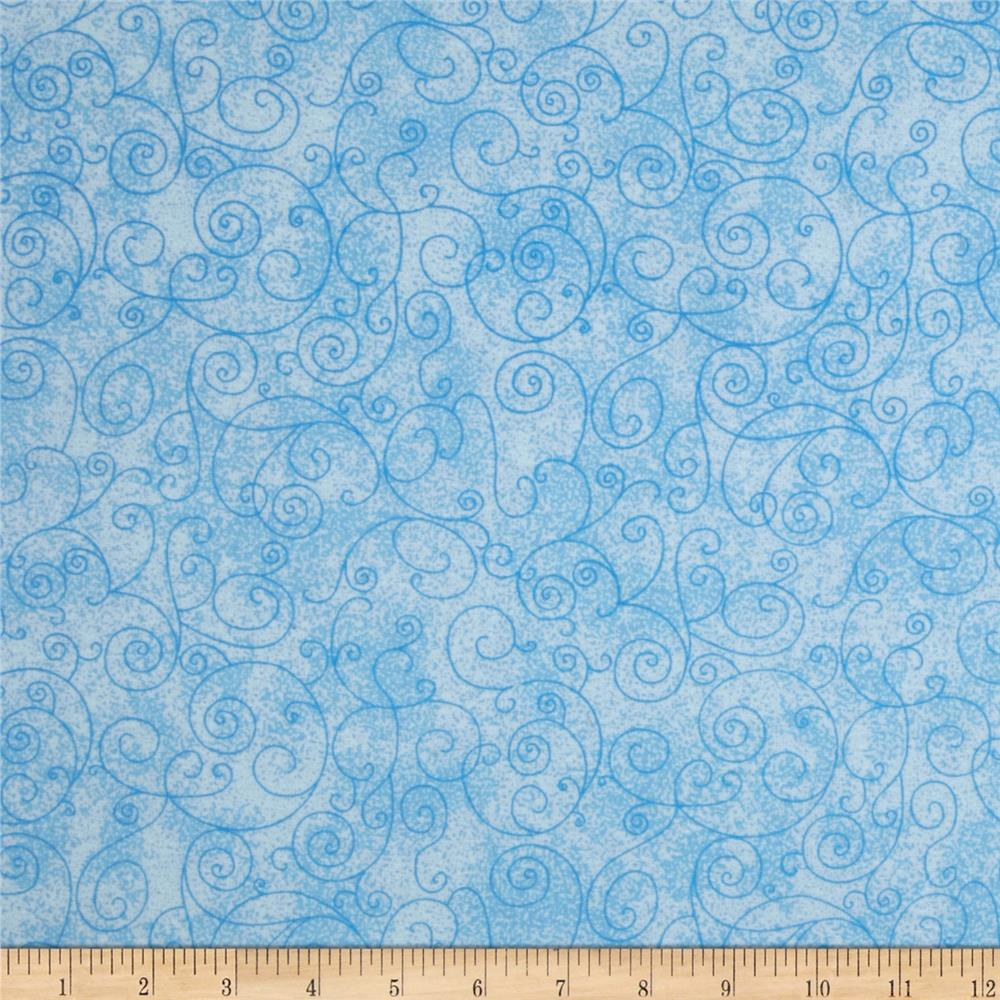 "110"" Wide Flannel Quilt Back Willow Light Blue"