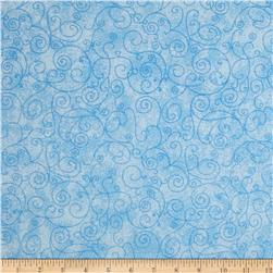 "110"" Wide Flannel Quilt Backing Willow Light Blue"
