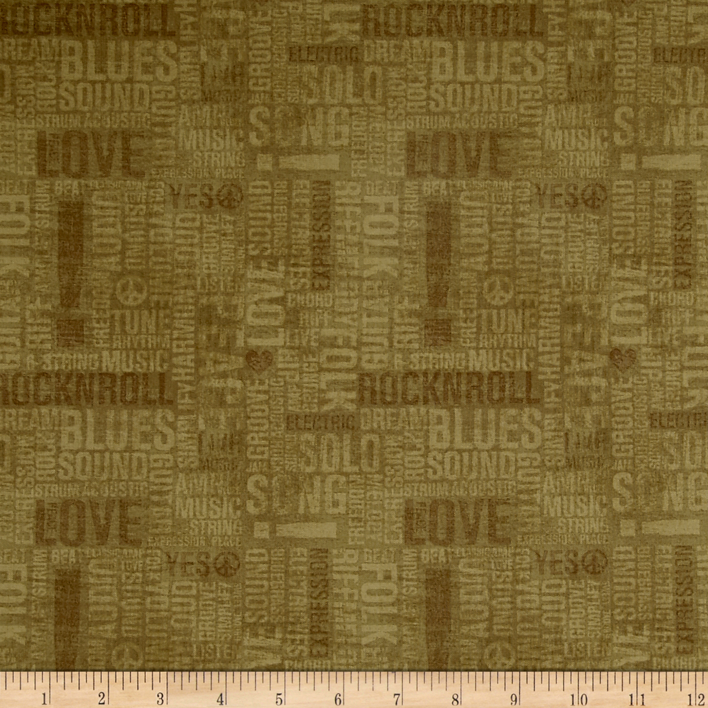 Type Band Words Olive Fabric by Windham in USA