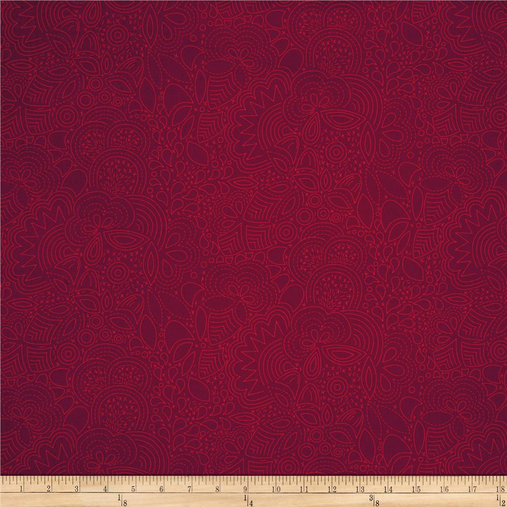 Alison Glass Seventy Six Stitched Auburn Red
