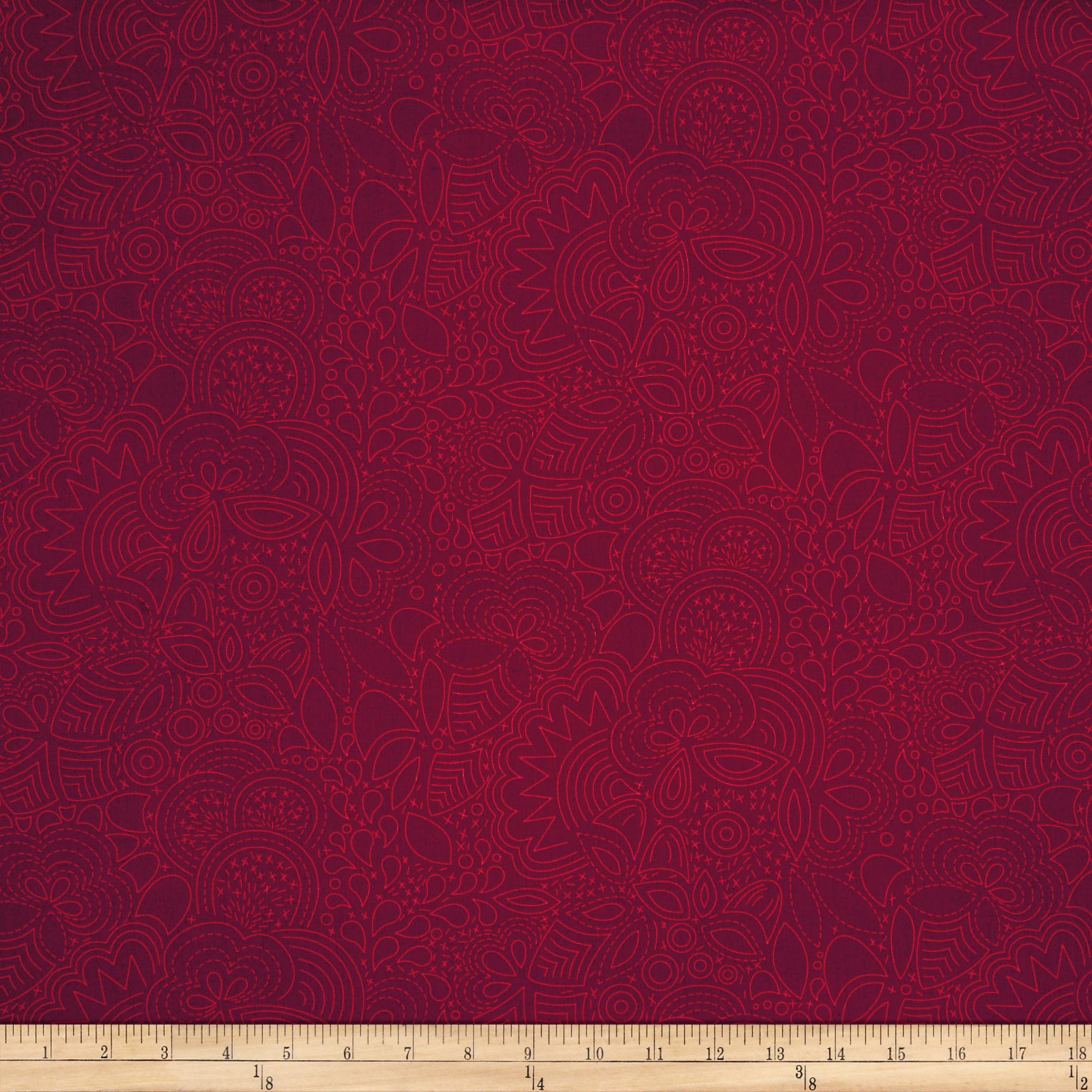 Alison Glass Seventy Six Stitched Auburn Red Fabric by Andover & Makower in USA
