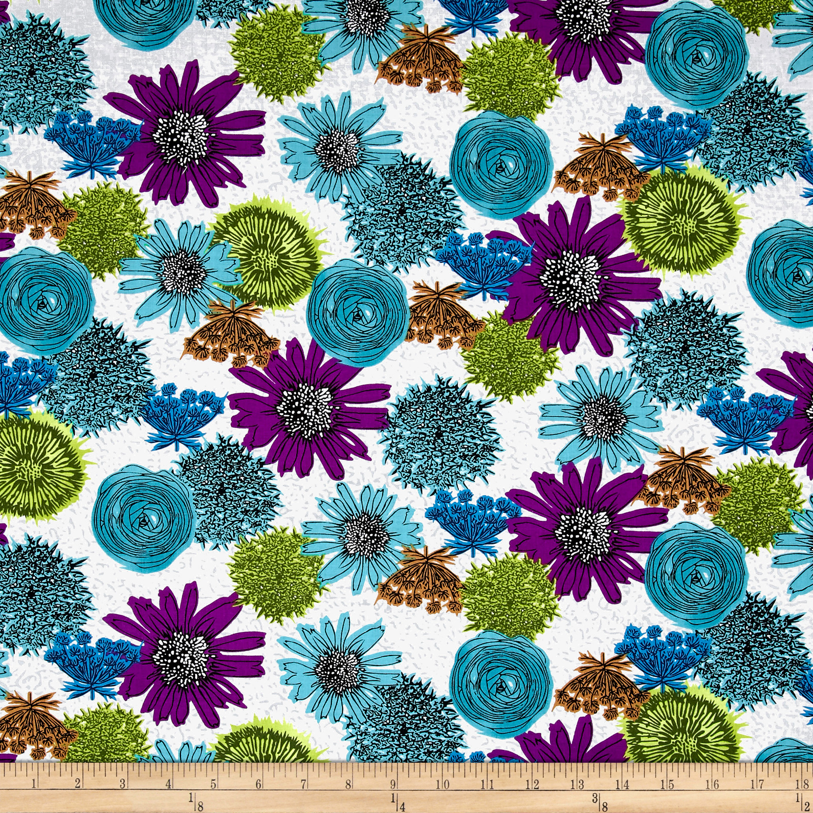 Makers Home Multi Flower Turquoise Fabric 0547341