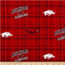 Collegiate Cotton Broadcloth University of Arkansas Plaid Red