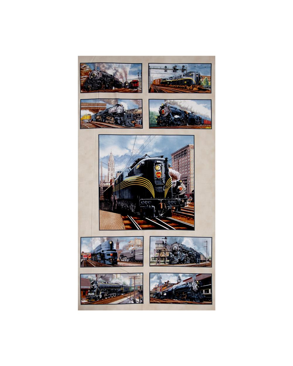 All Aboard Trains 24 In. Panel Cream