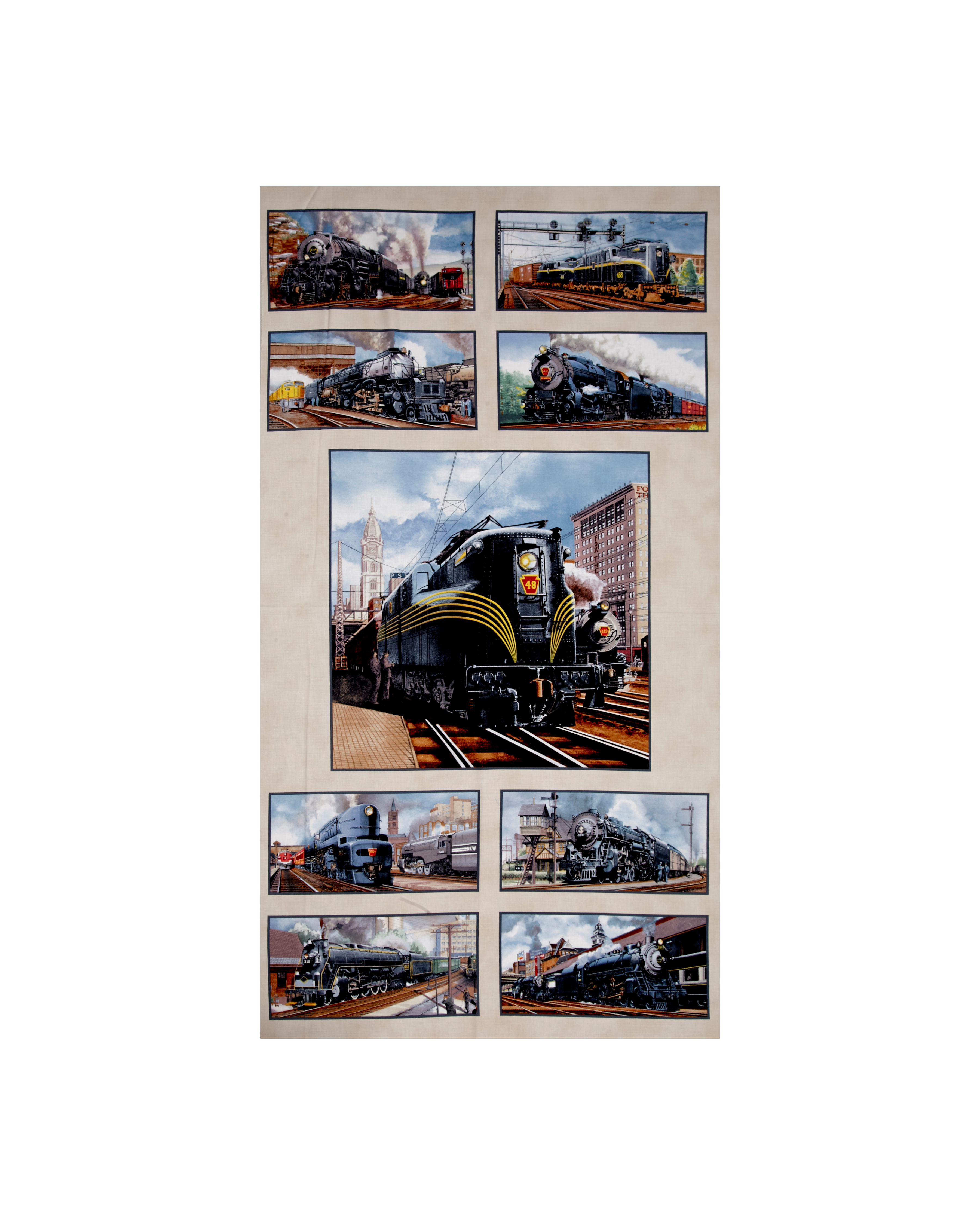 Image of All Aboard Trains 24 In. Panel Cream Fabric