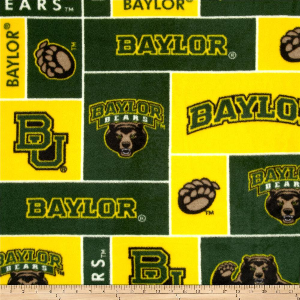 Collegiate Fleece Baylor University Green/Yellow Fabric By The Yard
