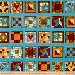 Build Each Other Up Quilt Blocks Teal