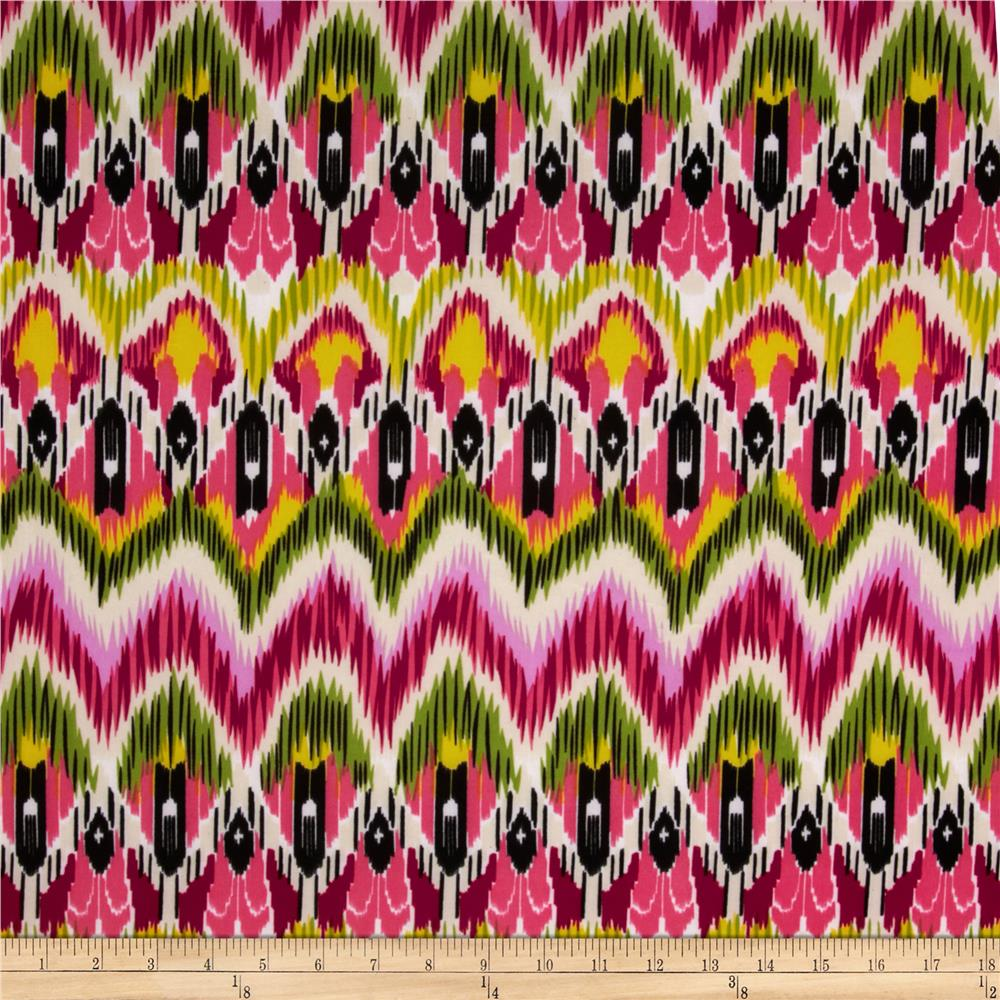 Stretch ITY Jersey Knit Ikat Yellow/Pink