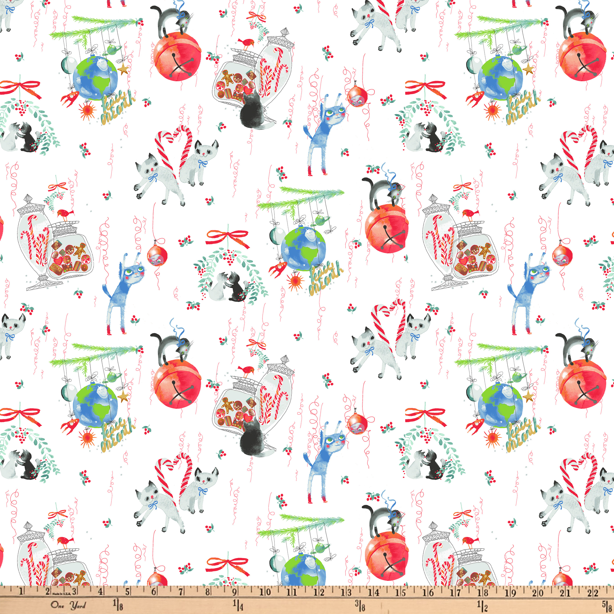 Clothworks Purrfect Christmas Toile White