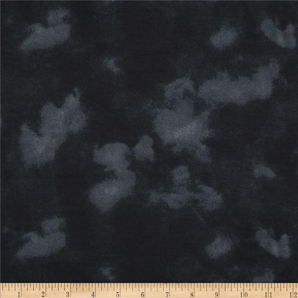 "108"" Wide Flannel Mottled Black"