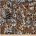 Printed Fleece Tiger & Cheetah Collage Brown/Black
